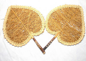 Rattan Woven Leaves Fans x2 Vintage Wall Hanging Home Decor 21x29cm