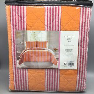 Vera  Bradley KING Quilt Louisa Textured Stripe Coral Orange Pink White Summer