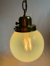 Antique Brass Chain Pendant with Opalescent Ball Shade Hanging Ceiling Light