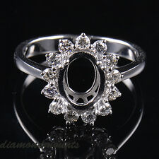 Oval 7×9MM Solid 14K White Gold Natural Diamond Semi Mount Engagement Ring