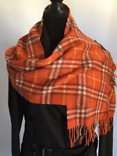 Burberry Giant Exploded Check Cashmere Scarf Shawl Orange Rust NWT