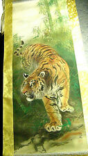 Hand Painted Japanese Tiger Tora Scroll