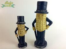 SET of 2 Cast Iron Peanut Planters Coin Money Box Piggy Bank Daddy & Baby MT30