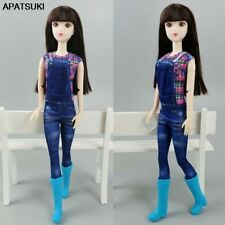 """Fashion Doll Clothes For 11.5"""" Doll Outfits Plaid Top Pants Bodysuit Rompers 1/6"""