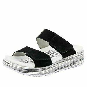 Alegria Women Double Strap Wedge Heel Sandals Mixie Suede