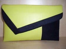 OVER SIZED COLOR BLOCK, NAVY BLUE & YELLOW faux leather asymmetrical clutch bag.