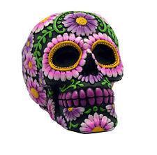 Black and Pink Day of the Dead Sugar Skull Coin Bank Mexican Dia De Los Muertos