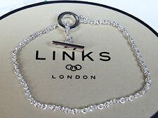 BN GENUINE LINKS OF LONDON CLASSIC T BAR 925 SILVER BRACELET-18CM-5010.2397-xmas