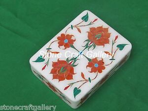 Marble Jewelry Box Handmade Inlay Work Stone Arts Crafts Work For Gifts