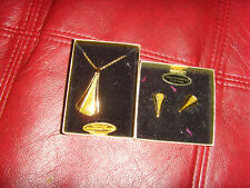 NEW NOS Van Doran deco eames era necklace and earrings set green + diamond dust