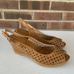 Spring Step tan leather wedge sandals Women's Size US 9.5 M Slingback Eyelet
