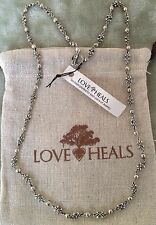 "Love Heals 24"" Fleur & Beads White Bronze Wire Wrapped Necklace NEW Retails $119"