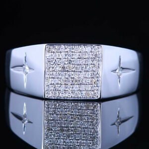 Men's Jewelry Natural Diamond Wedding Band Anniversary 925 Sterling Silver Ring