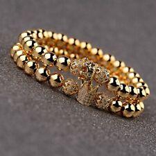 Fashion Men Women Luxury Micro Pave CZ Crown Copper Beads Couple Bracelets Gift