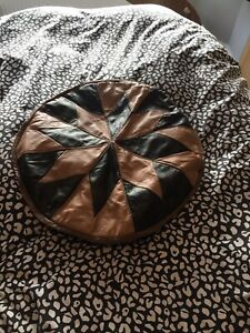 Brown Patchwork Leather Pouffe Foot Stool