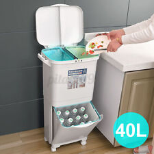 40L Recycle Rubbish Bin Open Garbage Storage Kitchen Waste Trash Can +Lid Double