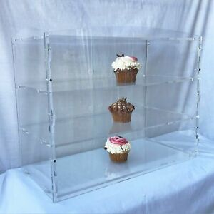 3-Tier Acrylic Bakery Pastry Display Case Cabinet Cakes Donuts Cupcakes Pastries