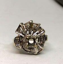 ESTATE ENGAGEMENT RING 14K WHITE GOLD & DIAMOND RING SETTING 4.85g 0.14 karat