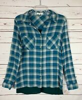 Entro Boutique Women's Size S Small Blue Green Plaid Button Cute Fall Top Shirt