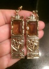 UNUSUAL LARGE VINTAGE SIGNED MIRACLE AMBER GLASS/ROCKING HORSE EARRINGS
