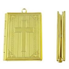 Gold Bible Book with Christian Cross 39mm Photo Picture Locket Pendant