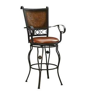 Powell Company Big and Tall Copper Stamped Back Barstool with Arms Bar Stool,
