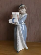 """Nao by Lladro .... Lady with Christmas Presents...No.489   """"Christmas Time"""""""