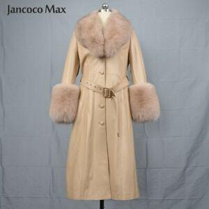 Women's Fashion Long Leather Jackets Windbreaker Real Fur Collar Warm Coat 37930