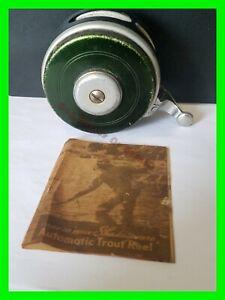 Early Shakespeare Silent Tru-Art No. 1845 Model GE Automatic Fly Reel w/ Booklet