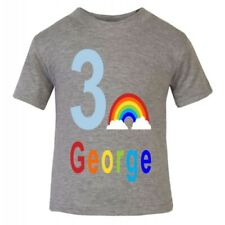 Personalised Children's Kids Birthday 1st 2nd 3rd 4th 5th RAINBOW T-Shirt Age