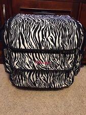 The Paper Studio Rolling Storage Tote Case Bag Scrapbook Organizer Black White