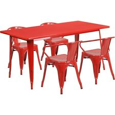 "Flash Furniture 31.5 "" X 63 "" Rectangular Red Metal Indoor-Outdoor Table Set"