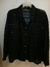 MIRASOL WOMENS SHEER BUTTON FRONT BLOUSE SIZE LARGE BLACK