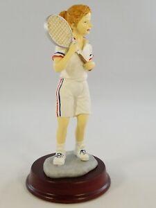 Girl Tennis Player Figurine Racquet Sport Statue 6.5 Inches Tall