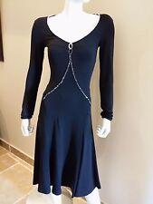 BLUMARINE EMBELLISHED LONG SLEEVE JERSEY 2 BLACK DRESS 795
