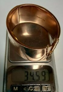 Antique Victorian Solid 9ct Rose Gold Wide Plain Bangle 35 Grams Repair or Scrap