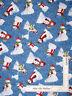 Christmas Winter Snowman Snow Blue-493 Cotton Fabric Wilmington Winters Eve Yard