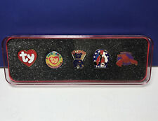 Ty Beanie Babies Official Club Collector's 5-Lapel Pins Set w/ Pinchers