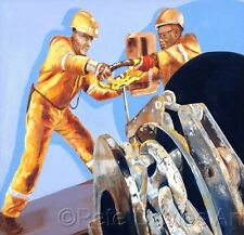 """NEW PETE DAVIES ORIGINAL """"Checking the Anchor Brake"""" North Sea Oil Rig PAINTING"""