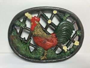 Vintage Red Rooster Cast Iron Painted Trivet 7.75""
