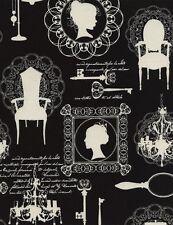 Timeless Treasures Noir Victorian Sketch Black 100% Cotton Fabric
