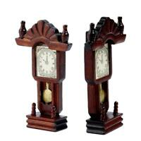 Miniature Wooden Classical Desk Clock for 1:12 Dollhouse Furniture Parts