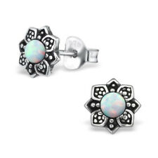 White Opal Vintage Flower Sterling Silver Stud Earrings 7mm