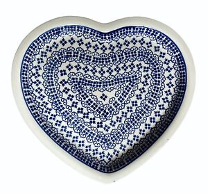 Boleslawiec Polish Pottery Heart Shaped Plate Cobalt Blue Floral Poland 9-1/2x11