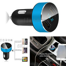 DC 5V 3.1A 2 Ports Adapter Car Charger Voltage Tester for iPhone Samsung Blue
