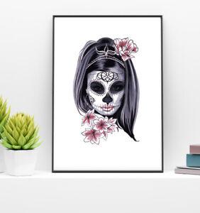 Woman SKULL PRINT Beauty Makeup Goth A4 Bedroom Wall Art No Frame