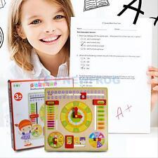 Kids Children's Educational Learning Wooden Clock Calendar w Season Weather Days