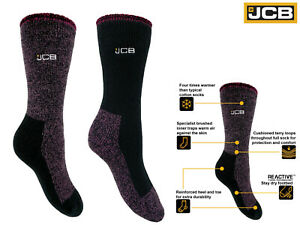 JCB Ladie's Thermal Socks Work Sock Winter Warm Chunky 1 pack Size 4-7 Purple