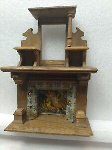 """Ornate Vintage Miniature Dollhouse Wood Mantle Fireplace Unique 6"""" X 4"""""""