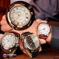 UK MEN'S BUSINESS LEATHER WATCH DATE STAINLESS STEEL MILITARY QUARTZ WRIST WATCH